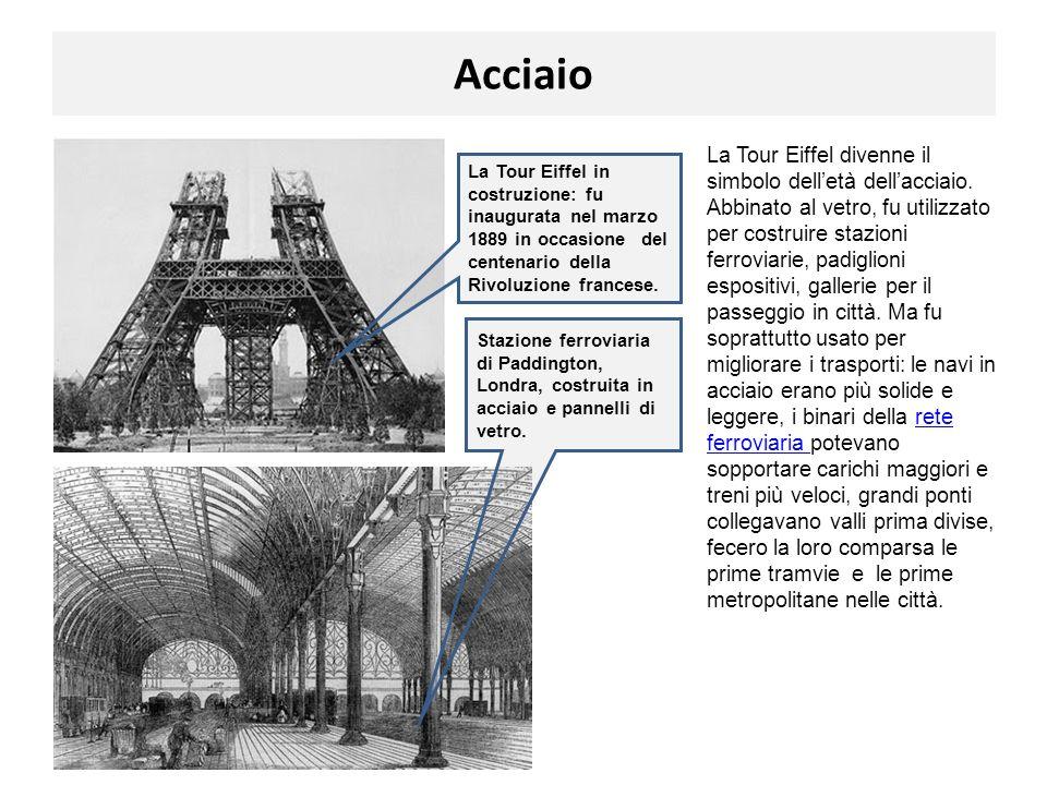Acciaio La Tour Eiffel divenne il simbolo delletà dellacciaio. Abbinato al vetro, fu utilizzato per costruire stazioni ferroviarie, padiglioni esposit