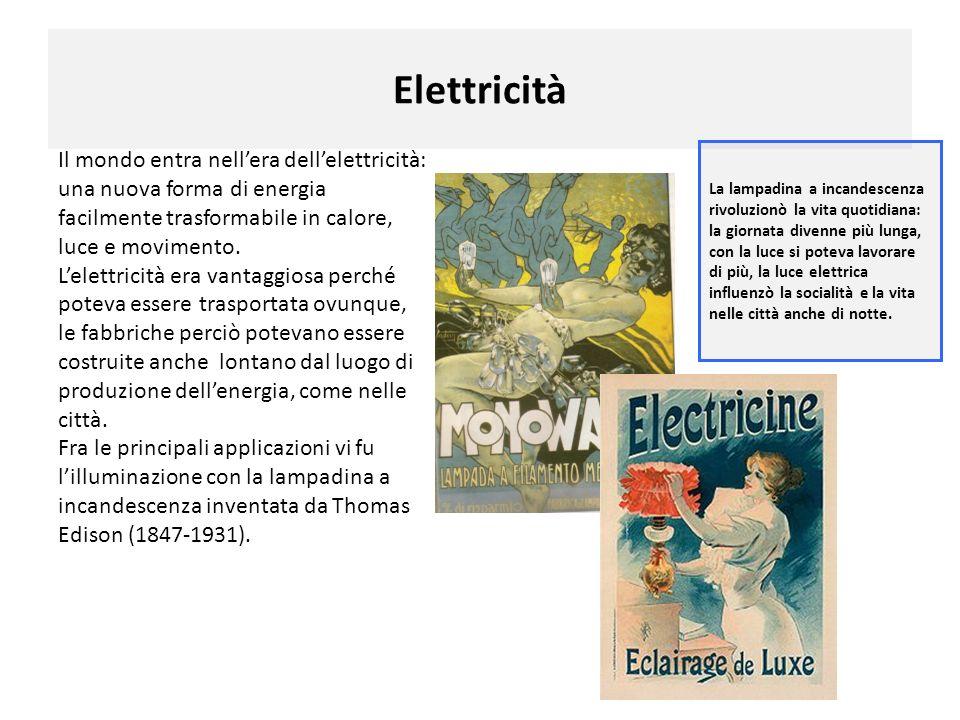 Elettricità Il mondo entra nellera dellelettricità: una nuova forma di energia facilmente trasformabile in calore, luce e movimento. Lelettricità era