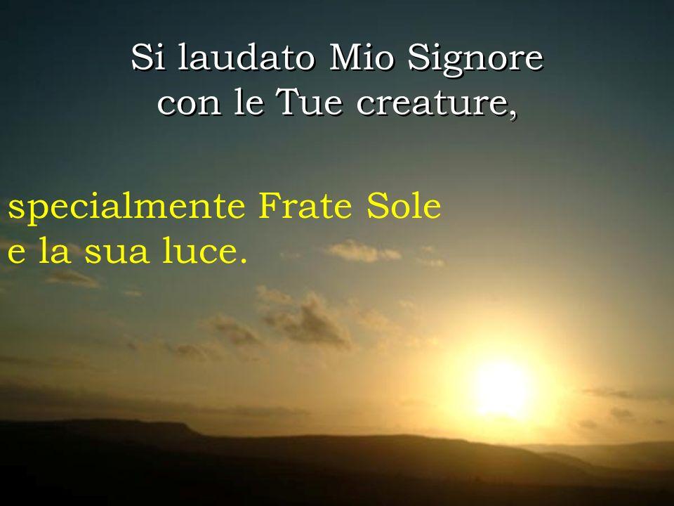 Si laudato Mio Signore con le Tue creature, Si laudato Mio Signore con le Tue creature, specialmente Frate Sole e la sua luce.
