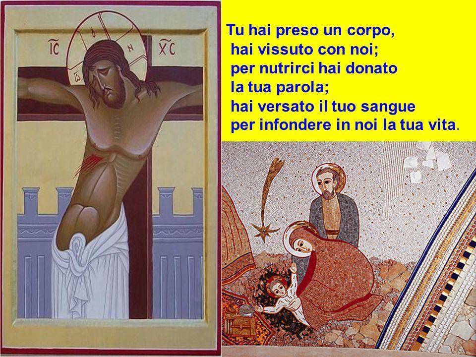 Tu hai preso un corpo, hai vissuto con noi; per nutrirci hai donato la tua parola; hai versato il tuo sangue per infondere in noi la tua vita.