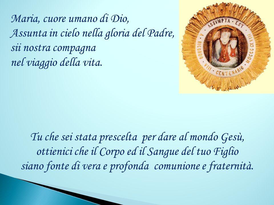 Maria, cuore umano di Dio, Assunta in cielo nella gloria del Padre, sii nostra compagna nel viaggio della vita.