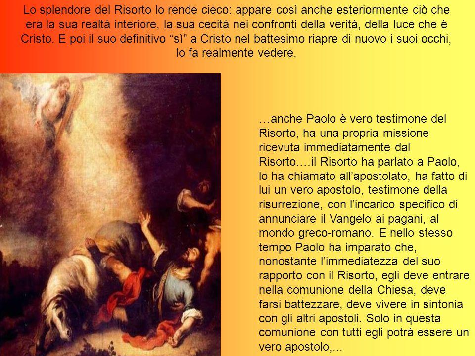 …anche Paolo è vero testimone del Risorto, ha una propria missione ricevuta immediatamente dal Risorto.…il Risorto ha parlato a Paolo, lo ha chiamato allapostolato, ha fatto di lui un vero apostolo, testimone della risurrezione, con lincarico specifico di annunciare il Vangelo ai pagani, al mondo greco-romano.