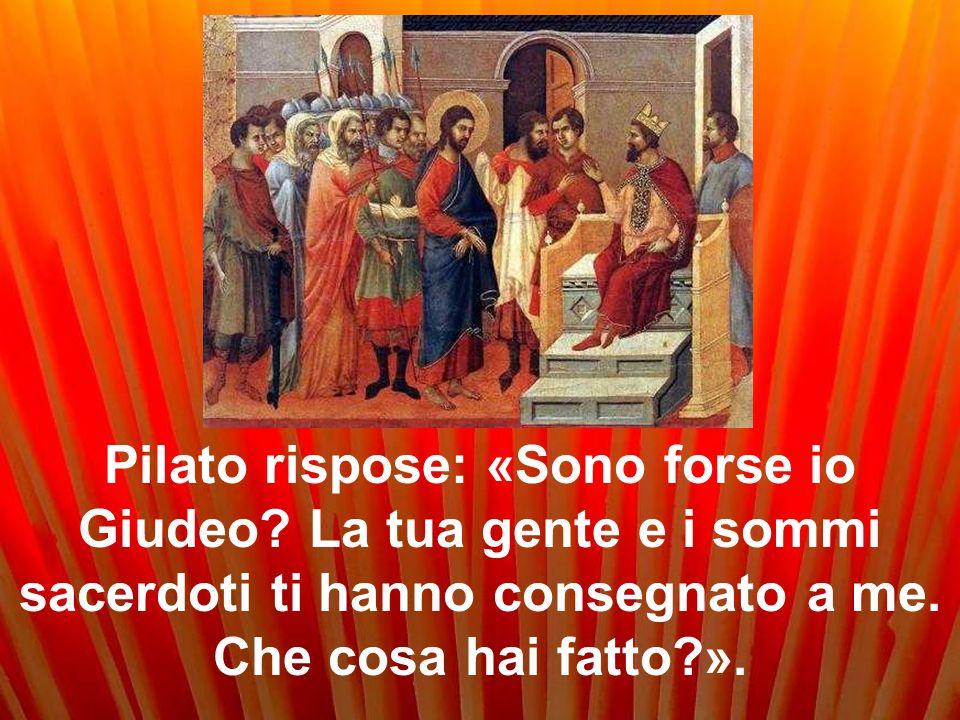 Pilato rispose: «Sono forse io Giudeo.La tua gente e i sommi sacerdoti ti hanno consegnato a me.