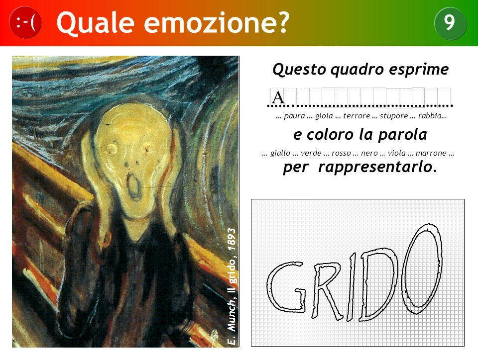 Quale emozione? :-( 9 E. Munch, Il grido, 1893 Questo quadro esprime …….…………………………………. e coloro la parola per rappresentarlo. … paura … gioia … terror