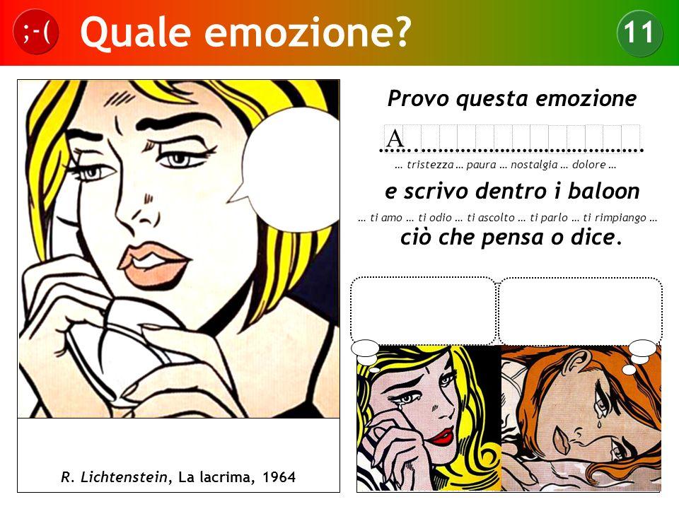 Quale emozione? ;-( 11 R. Lichtenstein, La lacrima, 1964 Provo questa emozione …….…………………………………. e scrivo dentro i baloon ciò che pensa o dice. … tris