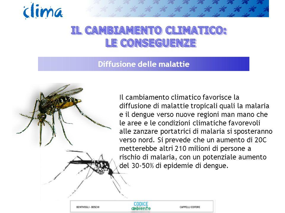 Diffusione delle malattie Il cambiamento climatico favorisce la diffusione di malattie tropicali quali la malaria e il dengue verso nuove regioni man