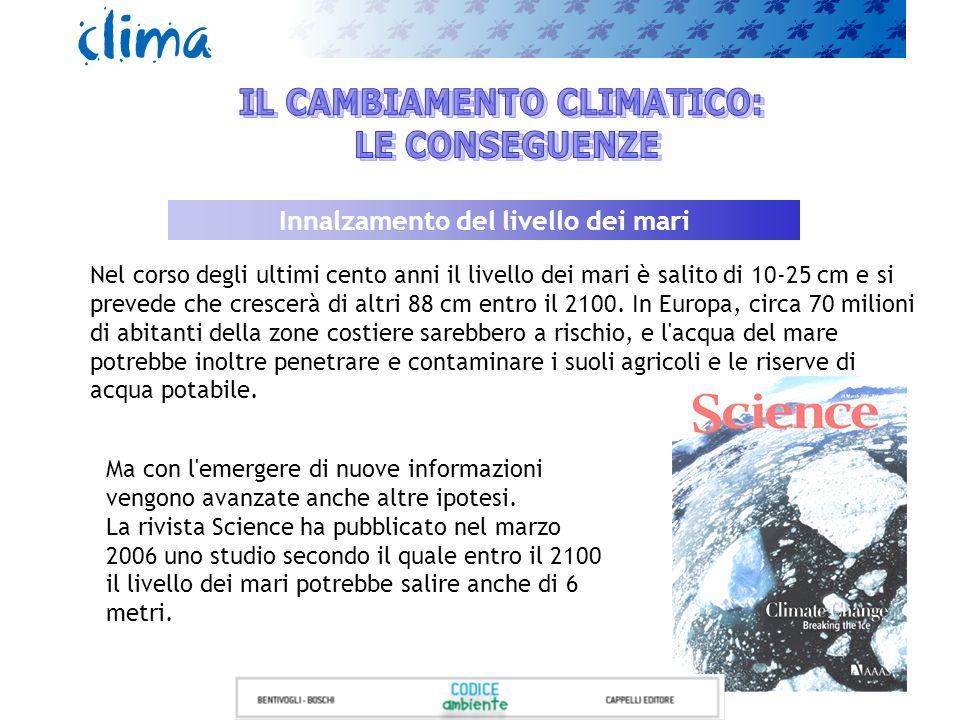 Nel corso degli ultimi cento anni il livello dei mari è salito di 10-25 cm e si prevede che crescerà di altri 88 cm entro il 2100. In Europa, circa 70