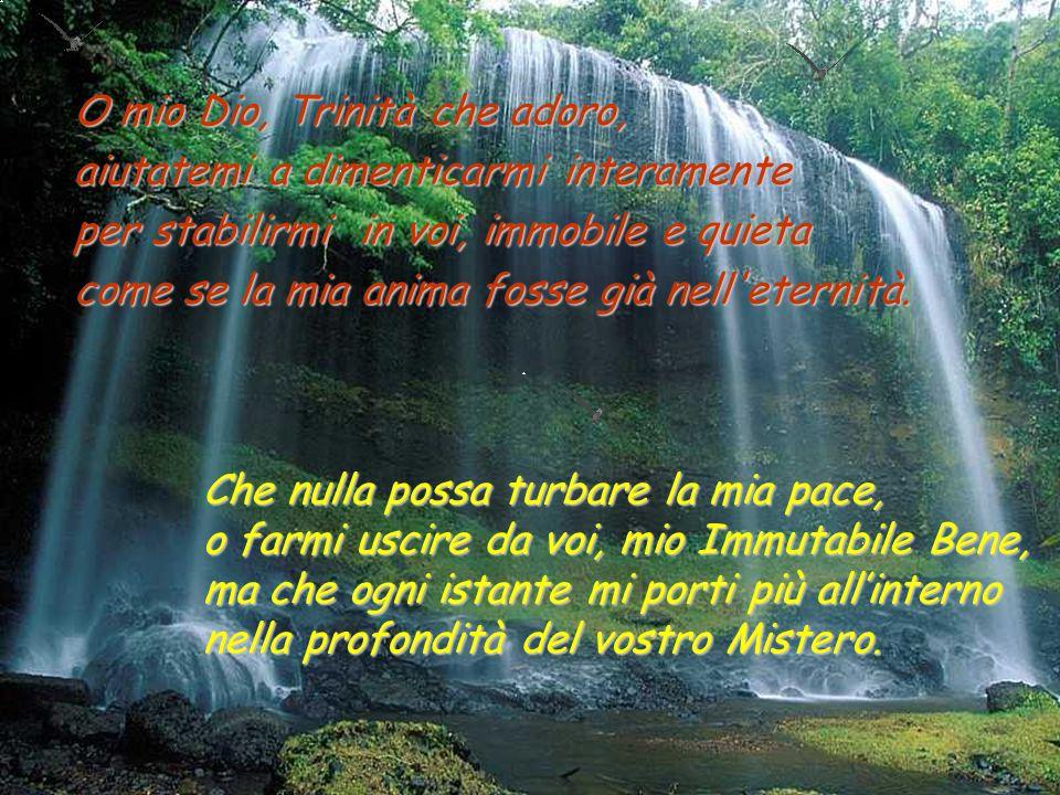 O miei Tre, mio Tutto, mia Beatitudine, Solitudine infinita, Immensità in cui mi perdo, …mi consegno a voi come una preda.