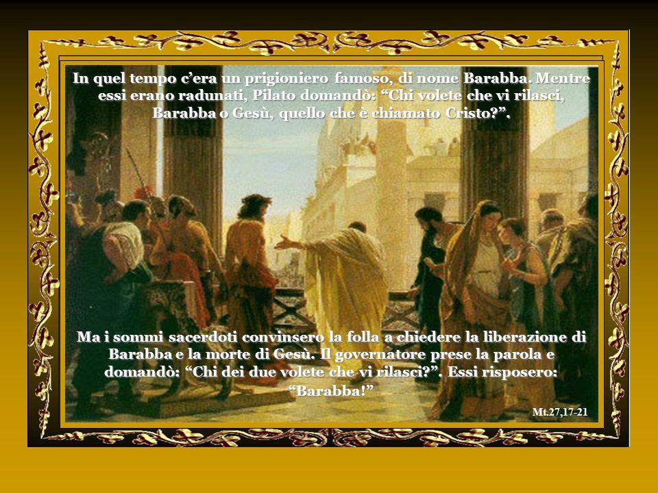 Quando si fece giorno, tutti i sommi sacerdoti e anziani del popolo tennero consiglio contro Gesù per farlo morire. Quindi lo legarono e, condottolo d