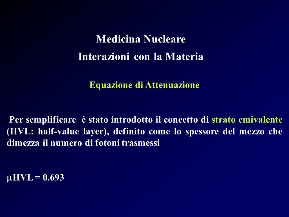 Medicina Nucleare Interazioni con la Materia Equazione di Attenuazione Per semplificare è stato introdotto il concetto di strato emivalente (HVL: half