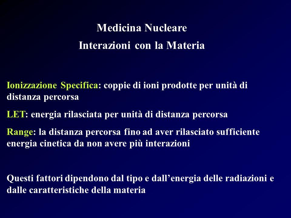 Medicina Nucleare Interazioni con la Materia Ionizzazione Specifica: coppie di ioni prodotte per unità di distanza percorsa LET: energia rilasciata pe