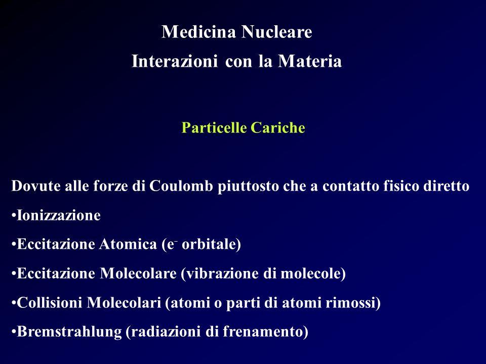 Medicina Nucleare Interazioni con la Materia Particelle Cariche Dovute alle forze di Coulomb piuttosto che a contatto fisico diretto Ionizzazione Ecci