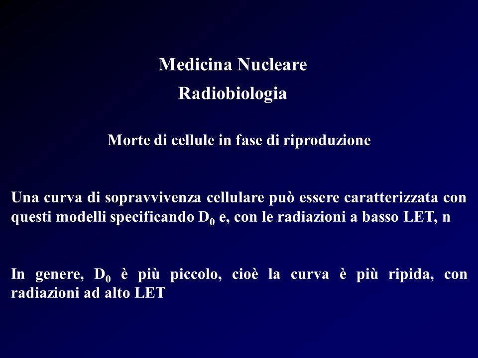 Medicina Nucleare Radiobiologia Morte di cellule in fase di riproduzione Una curva di sopravvivenza cellulare può essere caratterizzata con questi mod