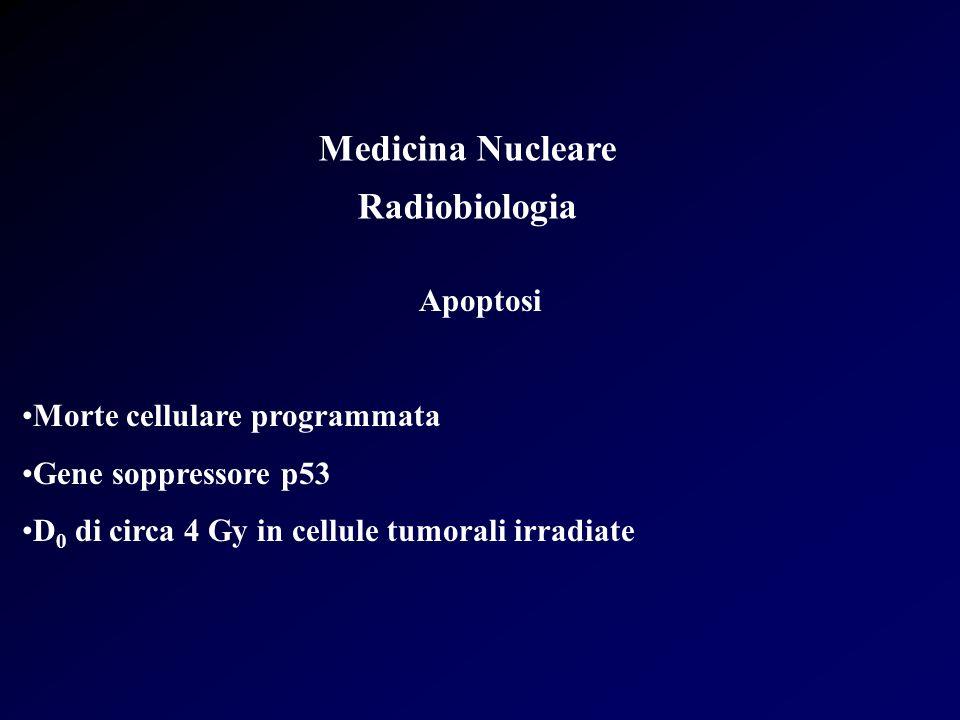 Medicina Nucleare Radiobiologia Apoptosi Morte cellulare programmata Gene soppressore p53 D 0 di circa 4 Gy in cellule tumorali irradiate