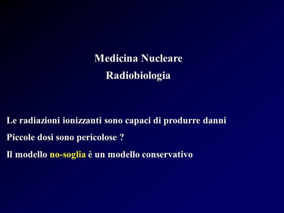 Medicina Nucleare Radiobiologia Morte di cellule in fase di riproduzione Un modello alternativo è quello della doppia azione S = e -( D+ DD) Basse dosi di radiazioni a basso LET il termine D 2 è trascurabile Il modello è ampiamente applicabile a numerosi effetti delle radiazioni