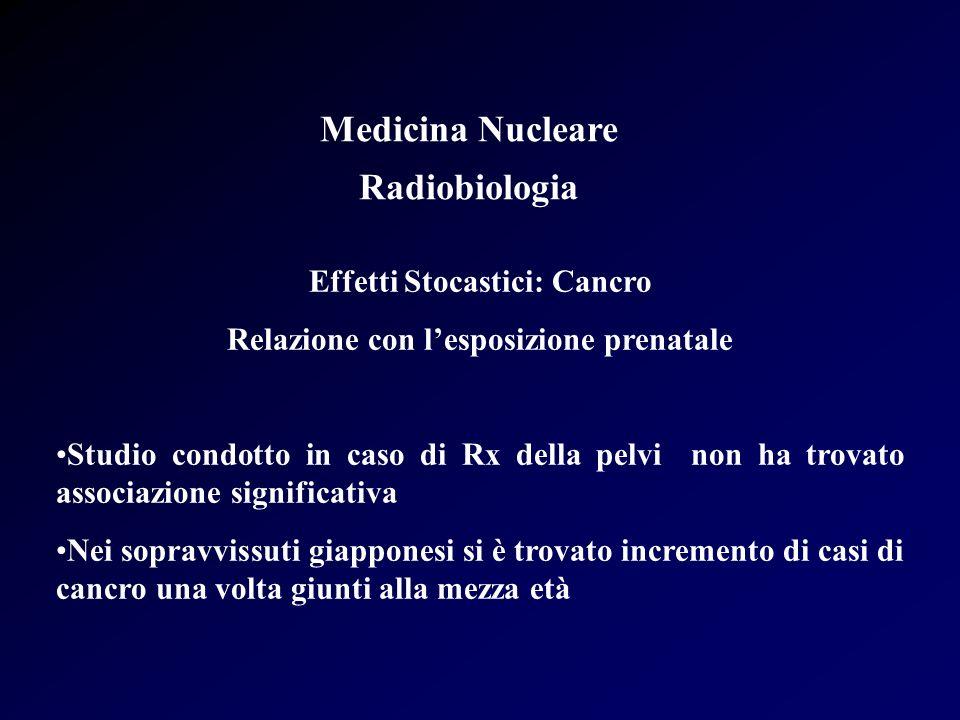 Medicina Nucleare Radiobiologia Effetti Stocastici: Cancro Relazione con lesposizione prenatale Studio condotto in caso di Rx della pelvi non ha trova
