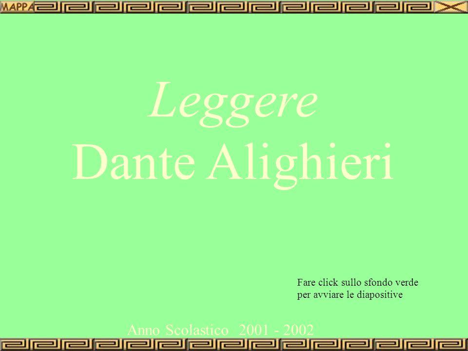 Leggere Dante Alighieri Anno Scolastico2001-2002 Fare click sullo sfondo verde per avviare le diapositive