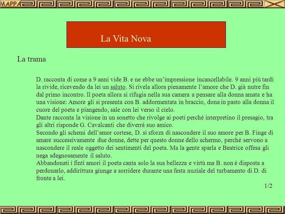 La Vita Nova La trama D. racconta di come a 9 anni vide B. e ne ebbe unimpressione incancellabile. 9 anni più tardi la rivide, ricevendo da lei un sal