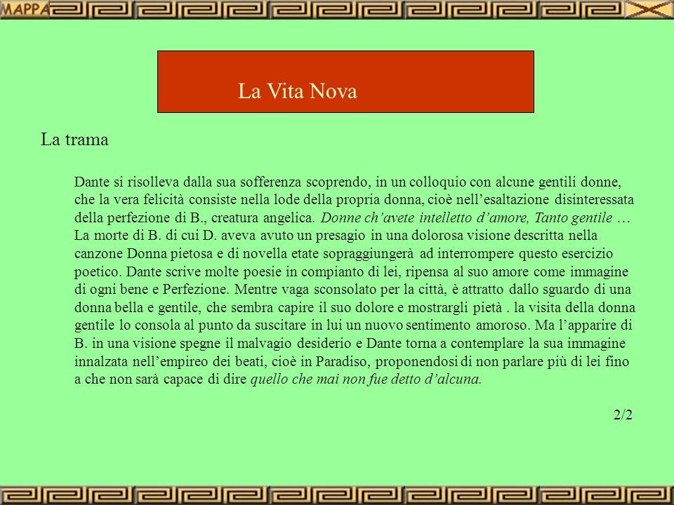 La Vita Nova La trama Dante si risolleva dalla sua sofferenza scoprendo, in un colloquio con alcune gentili donne, che la vera felicità consiste nella