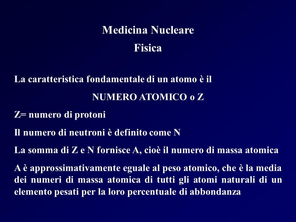 Medicina Nucleare Fisica La caratteristica fondamentale di un atomo è il NUMERO ATOMICO o Z Z= numero di protoni Il numero di neutroni è definito come