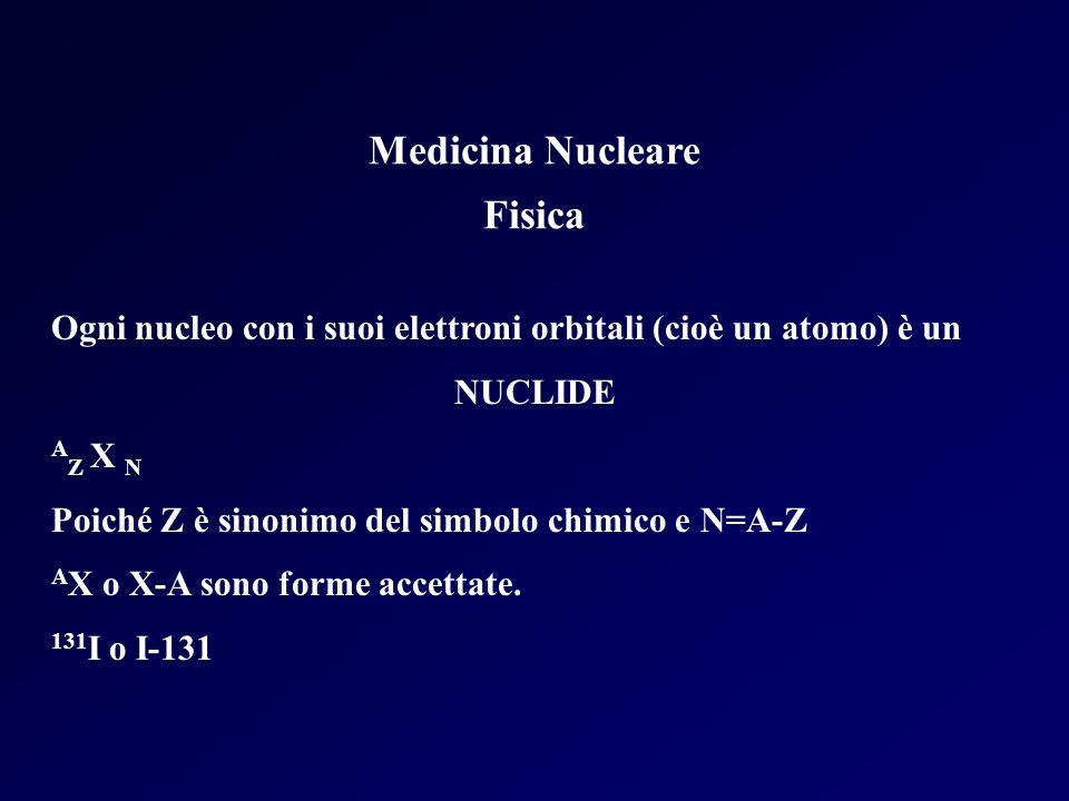 Medicina Nucleare Fisica Ogni nucleo con i suoi elettroni orbitali (cioè un atomo) è un NUCLIDE A Z X N Poiché Z è sinonimo del simbolo chimico e N=A-