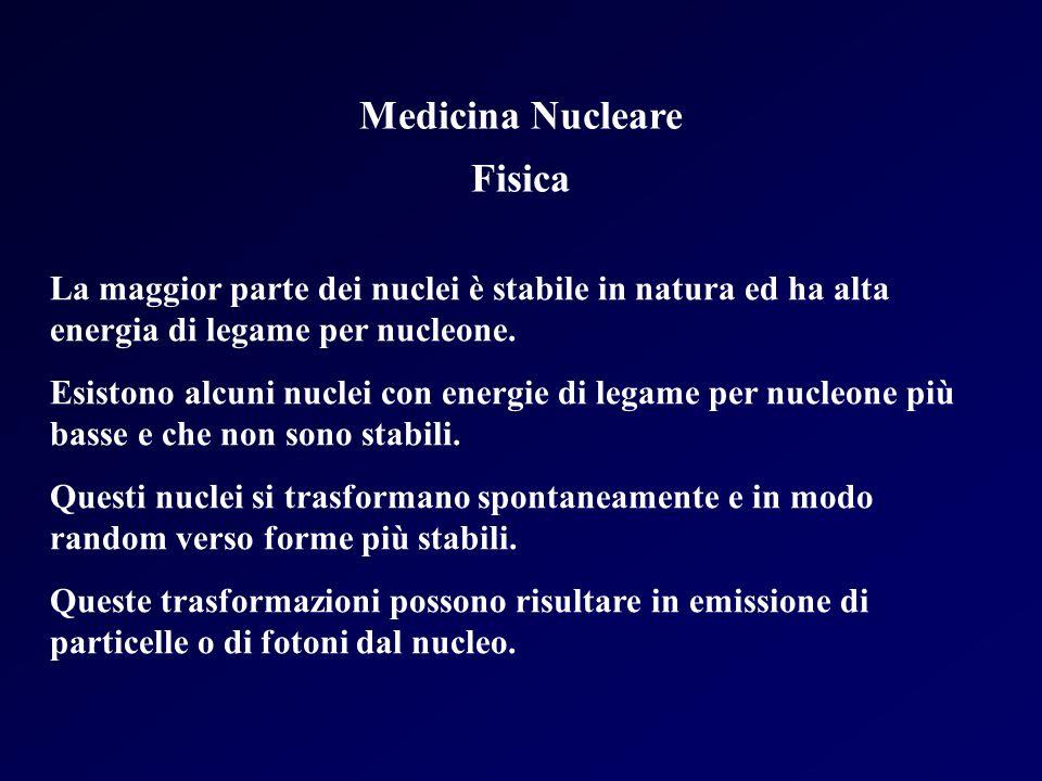Medicina Nucleare Fisica La maggior parte dei nuclei è stabile in natura ed ha alta energia di legame per nucleone. Esistono alcuni nuclei con energie