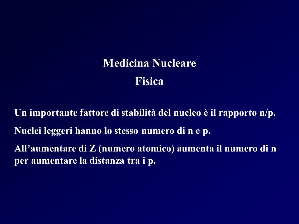 Medicina Nucleare Fisica Un importante fattore di stabilità del nucleo è il rapporto n/p. Nuclei leggeri hanno lo stesso numero di n e p. Allaumentare