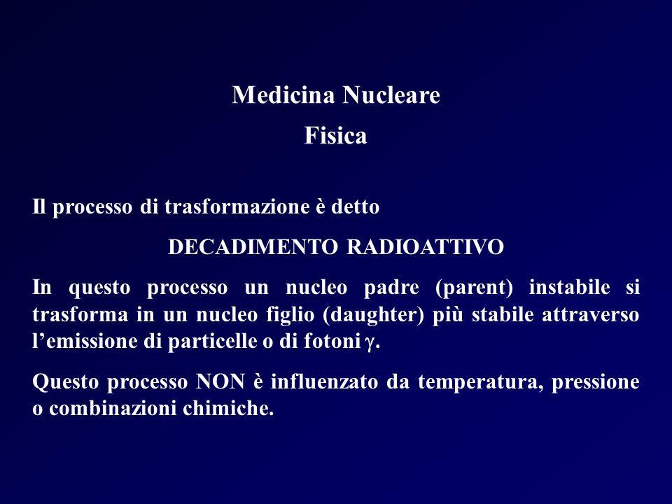 Medicina Nucleare Fisica Il processo di trasformazione è detto DECADIMENTO RADIOATTIVO In questo processo un nucleo padre (parent) instabile si trasfo