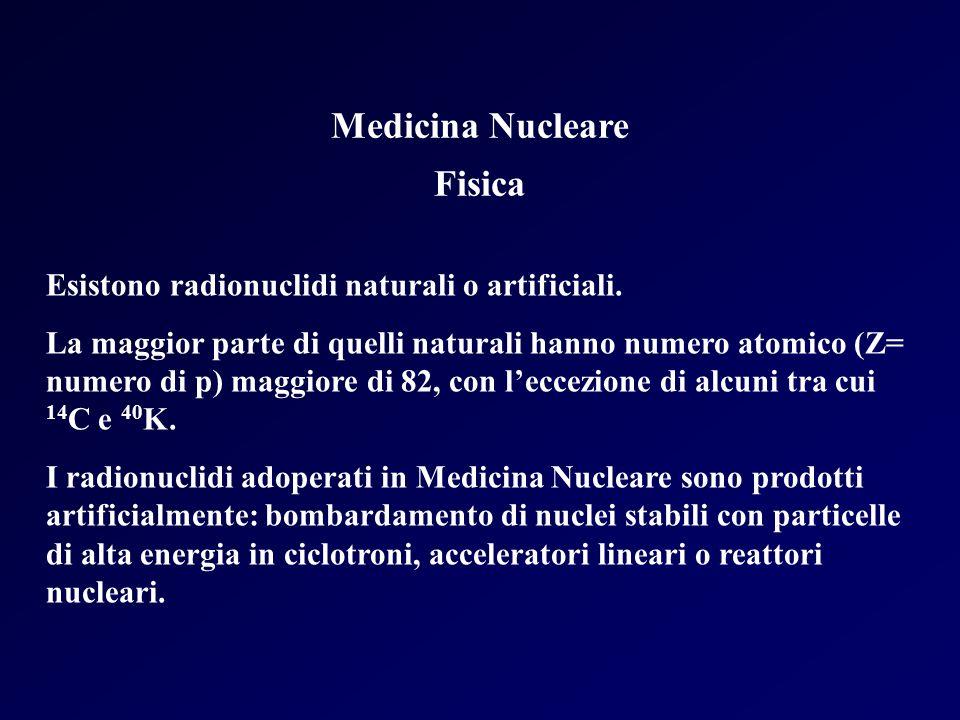 Medicina Nucleare Fisica Esistono radionuclidi naturali o artificiali. La maggior parte di quelli naturali hanno numero atomico (Z= numero di p) maggi