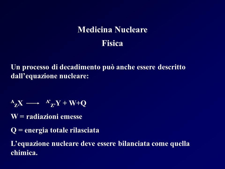 Medicina Nucleare Fisica Un processo di decadimento può anche essere descritto dallequazione nucleare: A Z X A Z Y + W+Q W = radiazioni emesse Q = ene