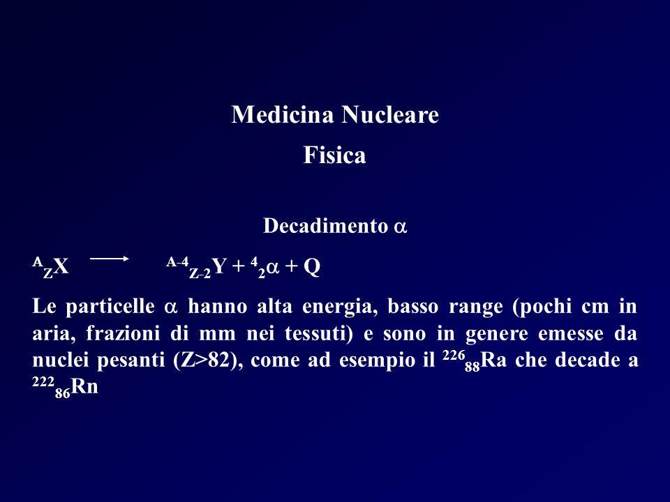 Medicina Nucleare Fisica Decadimento X A-4 Z-2 Y + 4 2 + Q Le particelle hanno alta energia, basso range (pochi cm in aria, frazioni di mm nei tessuti