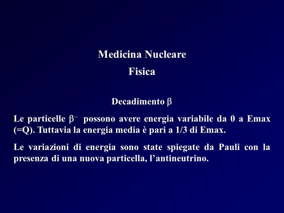 Medicina Nucleare Fisica Decadimento Le particelle possono avere energia variabile da 0 a Emax (=Q). Tuttavia la energia media è pari a 1/3 di Emax. L