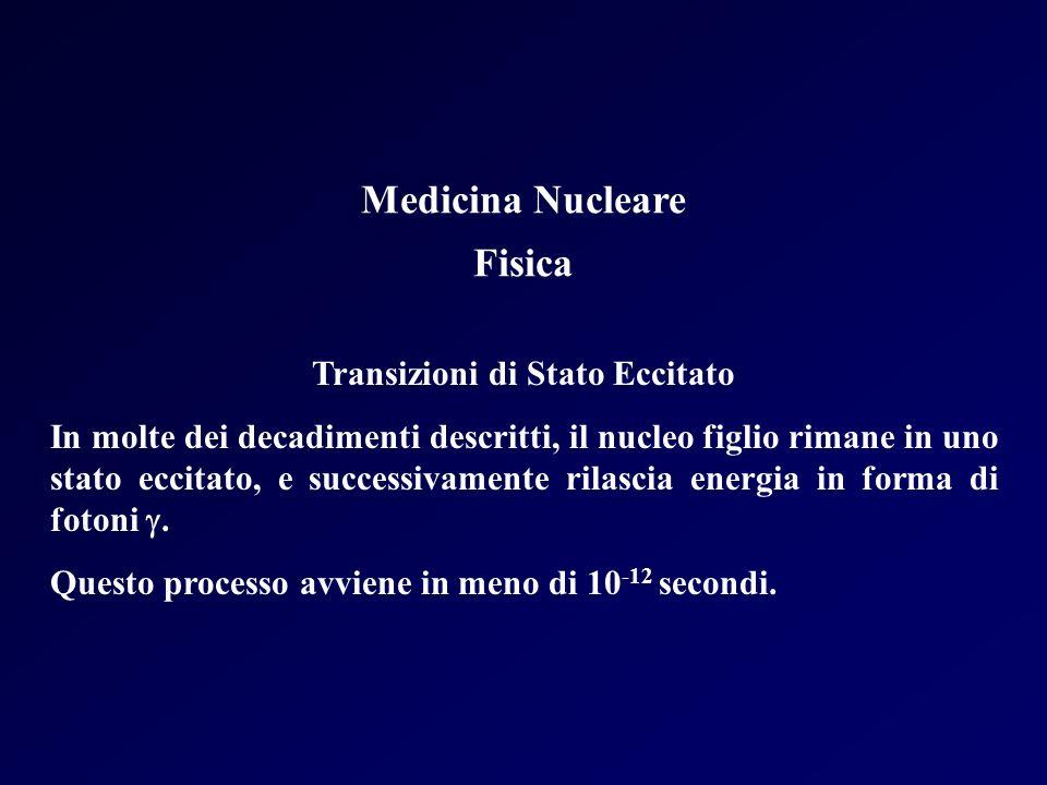 Medicina Nucleare Fisica Transizioni di Stato Eccitato In molte dei decadimenti descritti, il nucleo figlio rimane in uno stato eccitato, e successiva