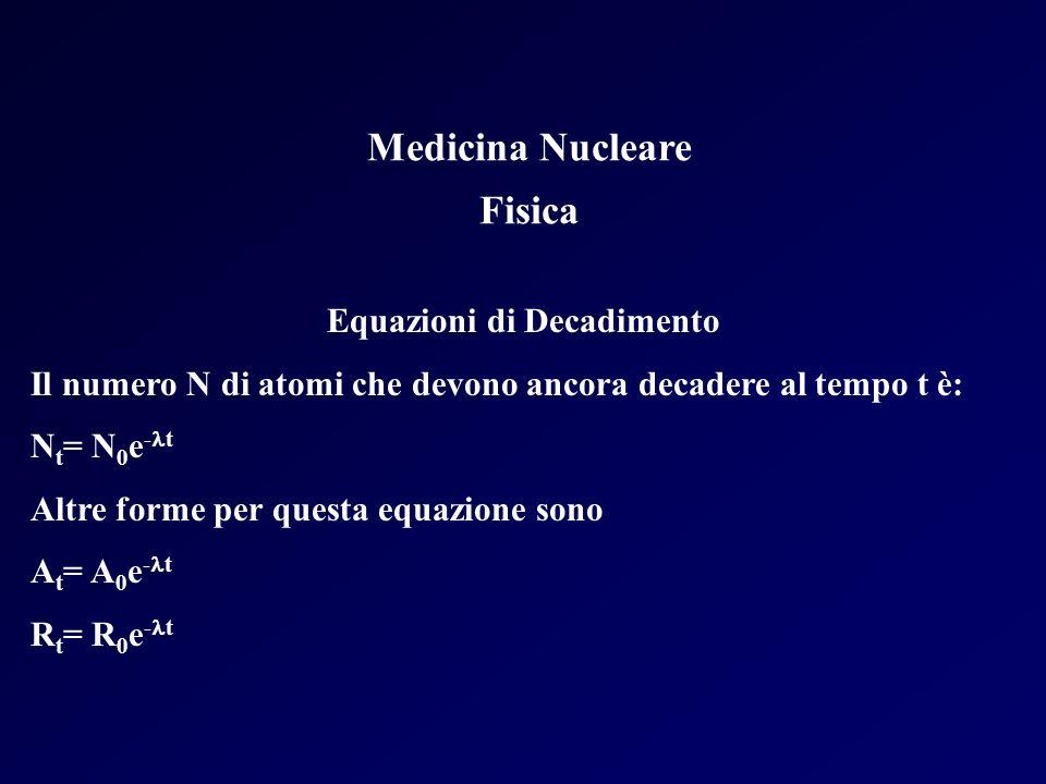 Medicina Nucleare Fisica Equazioni di Decadimento Il numero N di atomi che devono ancora decadere al tempo t è: N t = N 0 e - t Altre forme per questa