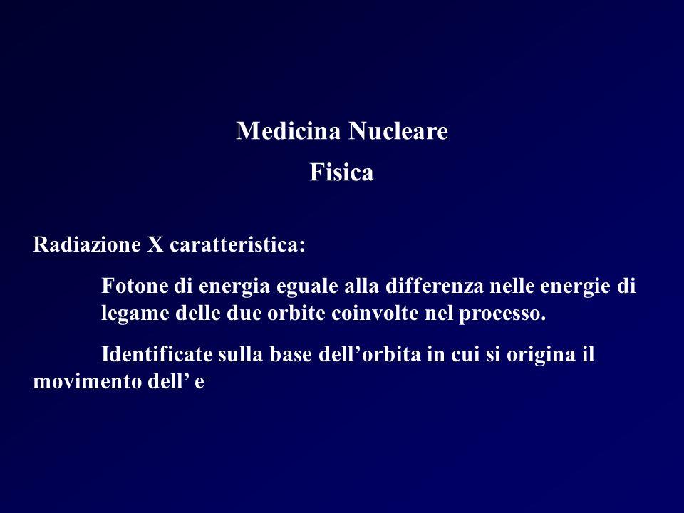Medicina Nucleare Fisica Radiazione X caratteristica: Fotone di energia eguale alla differenza nelle energie di legame delle due orbite coinvolte nel