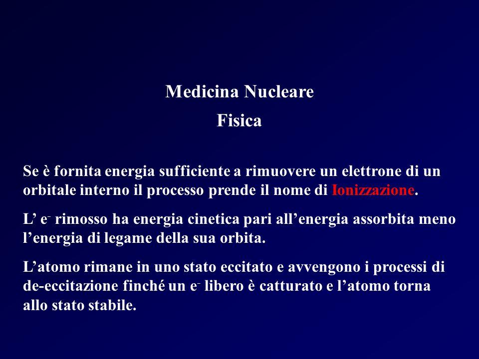 Medicina Nucleare Fisica Se è fornita energia sufficiente a rimuovere un elettrone di un orbitale interno il processo prende il nome di Ionizzazione.