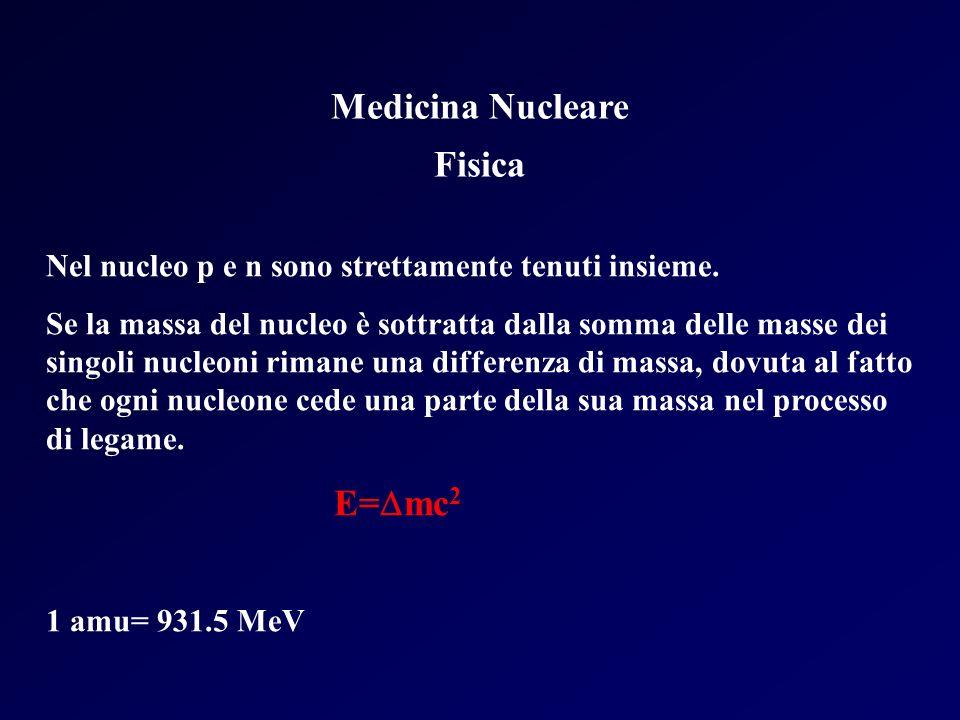 Medicina Nucleare Fisica Nel nucleo p e n sono strettamente tenuti insieme. Se la massa del nucleo è sottratta dalla somma delle masse dei singoli nuc