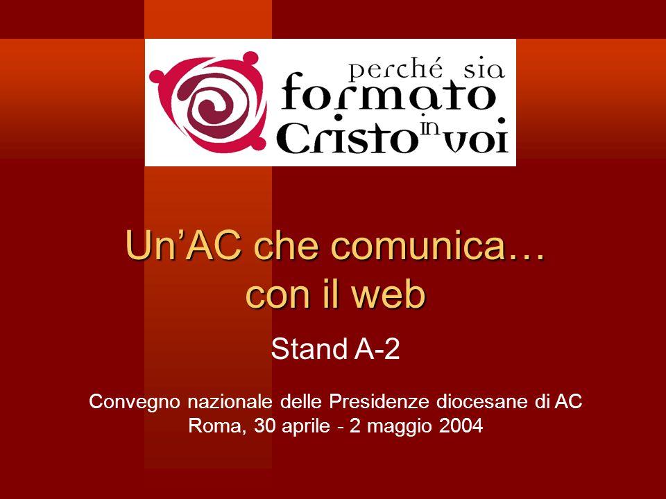 UnAC che comunica… con il web Stand A-2 Convegno nazionale delle Presidenze diocesane di AC Roma, 30 aprile - 2 maggio 2004