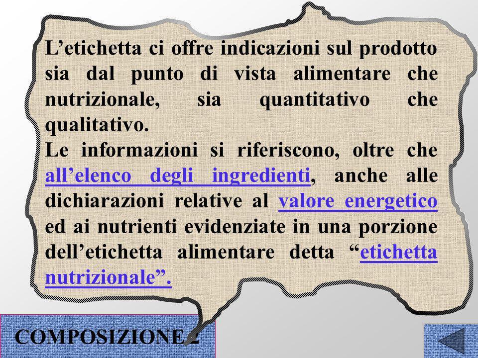 ELENCO DEGLI INGREDIENTI ETICHETTE NUTRIZIONALI COMPOSIZIONE NFORMAZIONI ALIMENTARI NFORMAZIONI NUTRIZIONALI