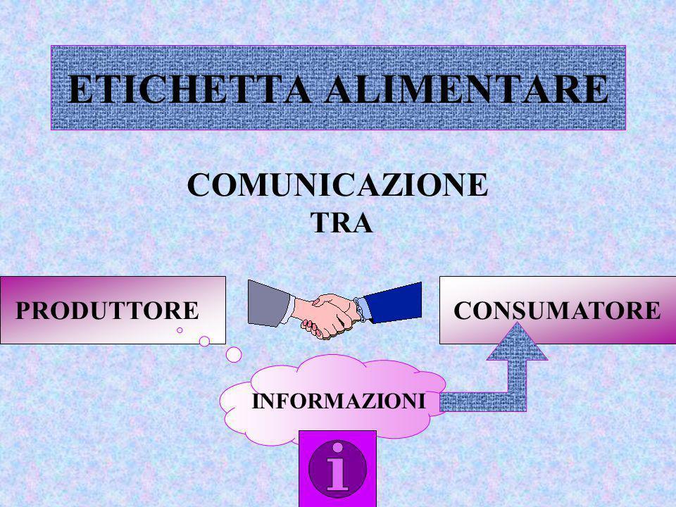 ETICHETTA ALIMENTARE COMUNICAZIONE TRA PRODUTTORE CONSUMATORE INFORMAZIONI