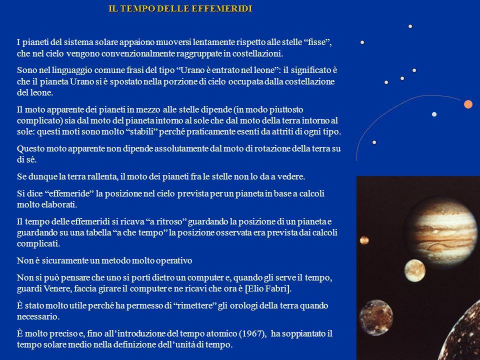 IL TEMPO ATOMICO (1967) Il tempo delle effemeridi prima e il tempo atomico poi hanno messo in evidenza che le misure di tempo basate sulla rotazione terrestre erano affette da errori sistematici perché la terra va rallentando il proprio moto di rotazione intorno allasse.
