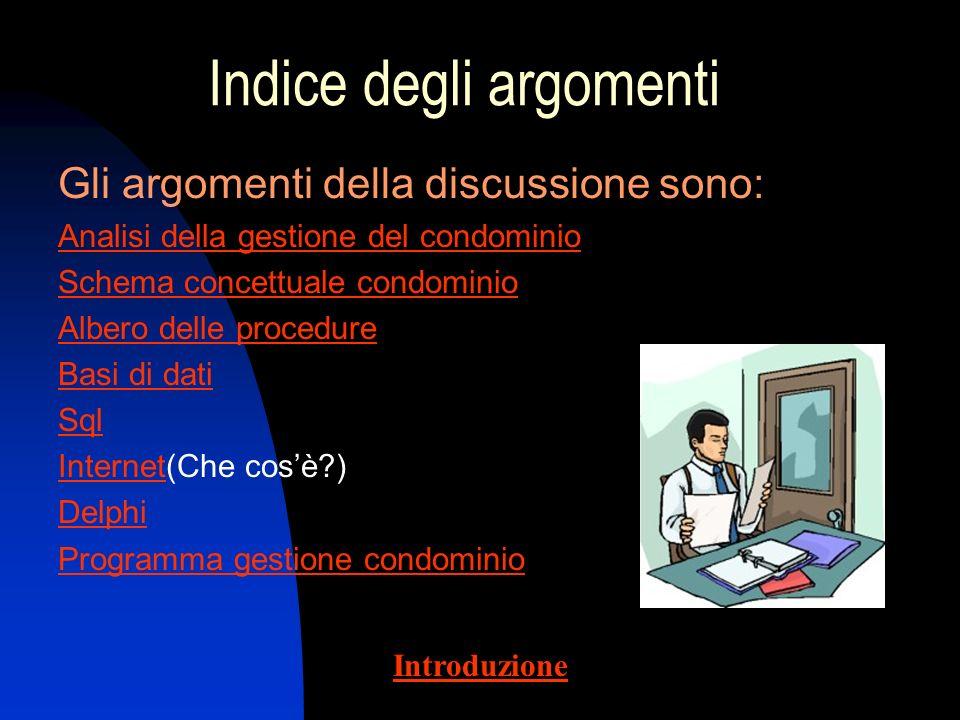 Introduzione Nella presentazione è esposto lo studio della gestione di un condominio, cioè lo sviluppo di un data base che permetta a più utenti di ge