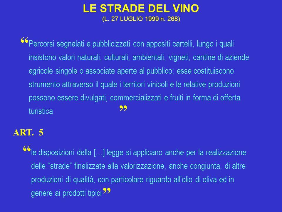 LE STRADE DEL VINO (L. 27 LUGLIO 1999 n. 268) Percorsi segnalati e pubblicizzati con appositi cartelli, lungo i quali insistono valori naturali, cultu