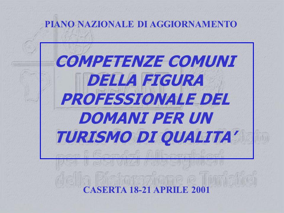 PIANO NAZIONALE DI AGGIORNAMENTO COMPETENZE COMUNI DELLA FIGURA PROFESSIONALE DEL DOMANI PER UN TURISMO DI QUALITA CASERTA 18-21 APRILE 2001