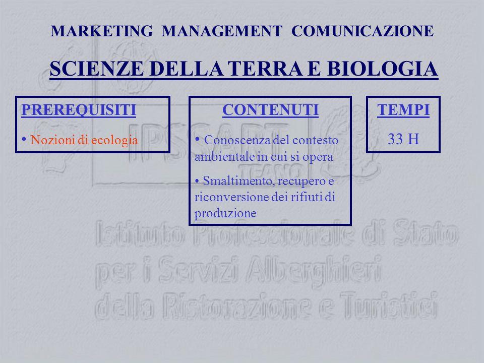 MARKETING MANAGEMENT COMUNICAZIONE PREREQUISITI Nozioni di ecologia SCIENZE DELLA TERRA E BIOLOGIA CONTENUTI Conoscenza del contesto ambientale in cui si opera Smaltimento, recupero e riconversione dei rifiuti di produzione TEMPI 33 H