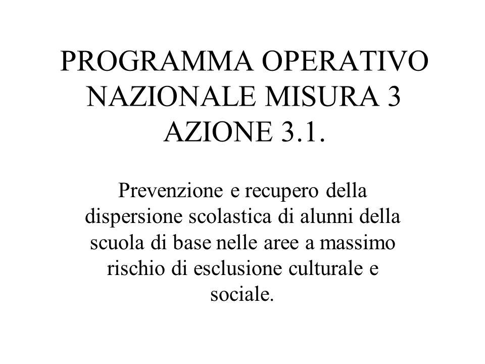 PROGRAMMA OPERATIVO NAZIONALE MISURA 3 AZIONE 3.1.
