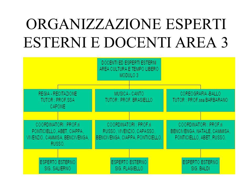ORGANIZZAZIONE ESPERTI ESTERNI E DOCENTI AREA 2