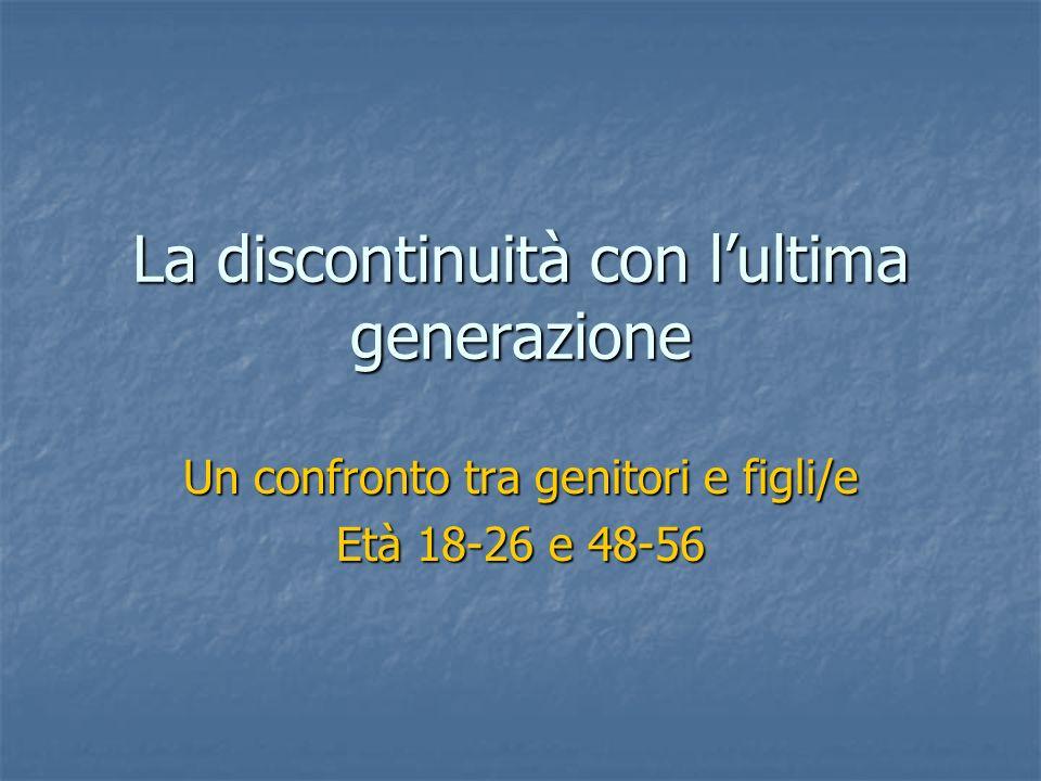 La discontinuità con lultima generazione Un confronto tra genitori e figli/e Età 18-26 e 48-56