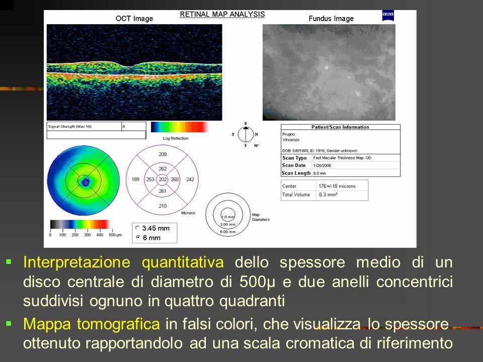 Interpretazione quantitativa dello spessore medio di un disco centrale di diametro di 500µ e due anelli concentrici suddivisi ognuno in quattro quadra