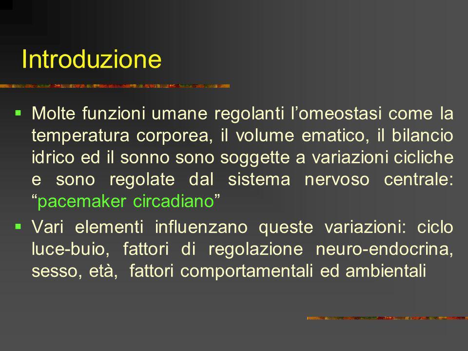 Introduzione Molte funzioni umane regolanti lomeostasi come la temperatura corporea, il volume ematico, il bilancio idrico ed il sonno sono soggette a